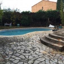 Préparation support pour terrasse et contour de piscine sur Luynes